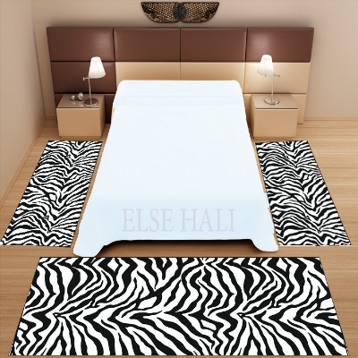 Else 3 Piece Black White Zebra Fur Animal Design 3d Pattern Print Non Slip Microfiber Washable Decor Bedroom Area Rug Carpet Set