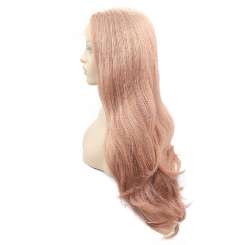 Marquesha Pink Synthetic Lace Front Wig Long Body Wave Glueless Wigs Natural Hairline He ...