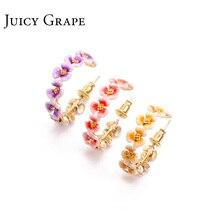 Juicy Grape new arrival enamel glaze hand painted copper plated 925 sliver sweet flower ear stud