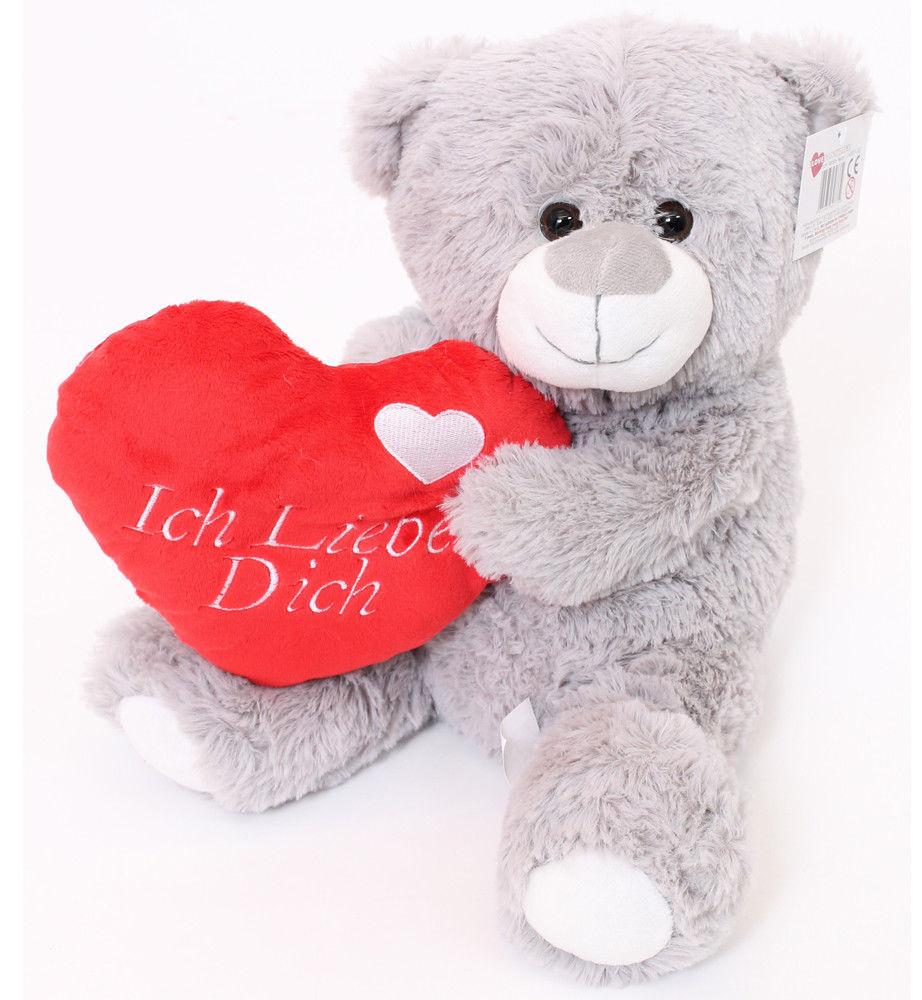 "VALENTINES DAY ICH LIEBE DICH GERMAN 16"" LARGE GREY TEDDY BEAR MOTHERS DAY CHRISTMAS PLUSH CUTE GIFT GIRLFRIEND BOYFRIEND"