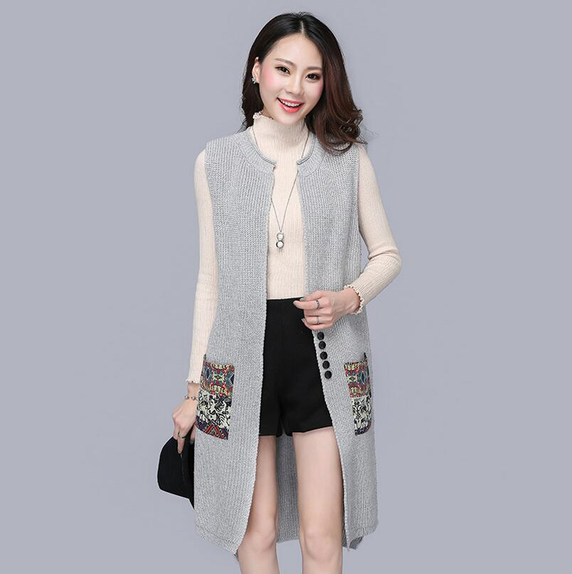 2c10150c37ae0f 2018 new autumn winter Long Sweater Vest Women Knitted Cardigan Sleeveless  Vest Female Waistcoat Jacket Outerwear s1216-in Cardigans from Women s  Clothing ...