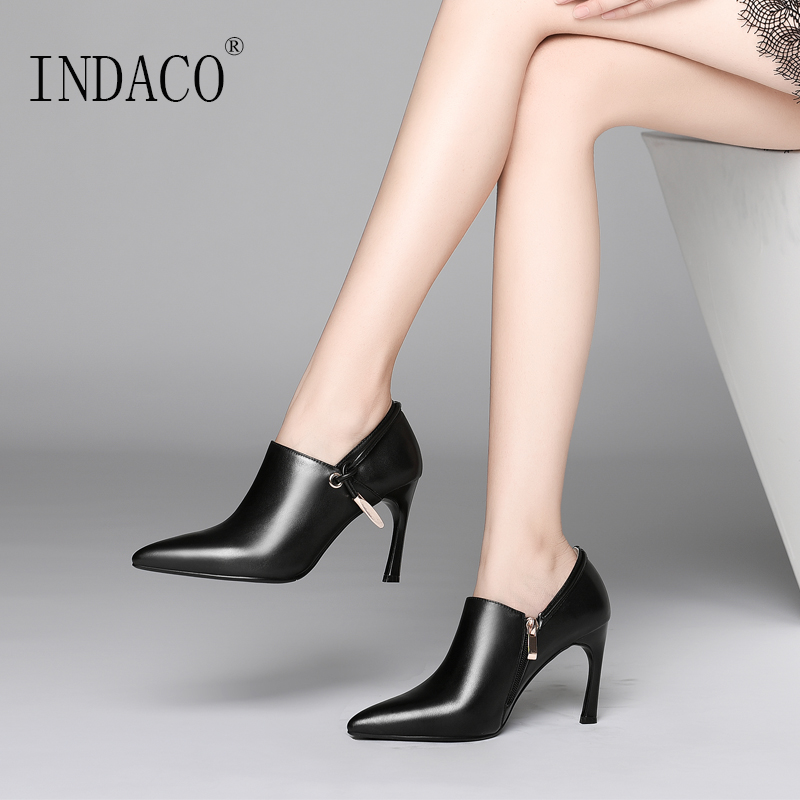 Women High Heel Leather Ankle Boots 2018 New Sexy Shoes Black Beige Winter Boots Women 8cm