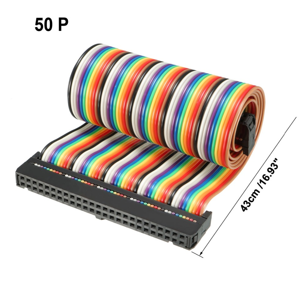 Uxcell 1pcs IDC <font><b>50</b></font> <font><b>Pins</b></font> Rainbow 43cm 66cm Length 2.54mm Pitch <font><b>Flat</b></font> Flexible Ribbon Jumper <font><b>Cable</b></font> With Box Multicolored for PCB image