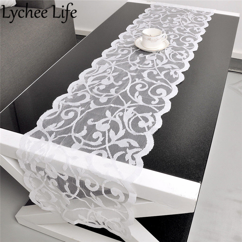 White Vintage Lace Table Runner Dresser Scarf Solid Color Classic Table Runners Modern Home Hotel Party Table Decor