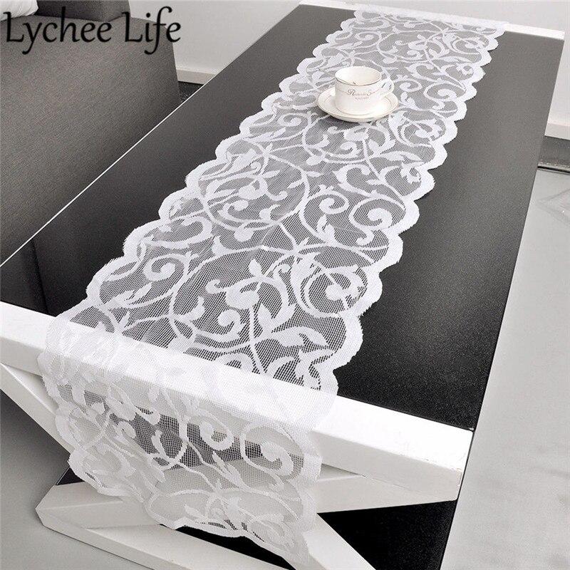 White Vintage Lace Table Runner Dresser Scarf Solid Color ...