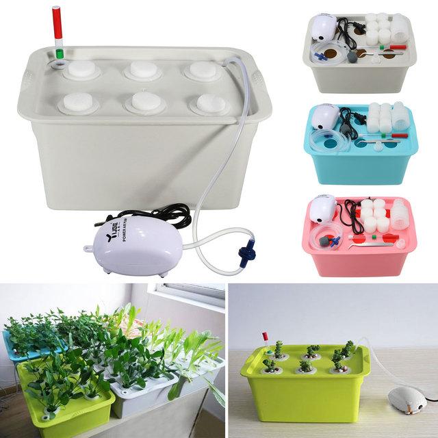 6 Holes  Plant Site Hydroponic System Indoor Garden Cabinet Box Grow Kit Bubble Garden Pots Planters Nursery Pots 220V/110V