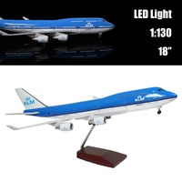 Mini 43.5 CM 1:130 Airplane Model Holland 747 with LED Light(Touch or Sound Control) Plane for Decoration or Gift