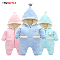 Winter Infant Baby Romper Hooded Thickening Cotton Clothes Keep Warm Cartoon Animal Jumpsuit Newborns Toddler Clothing