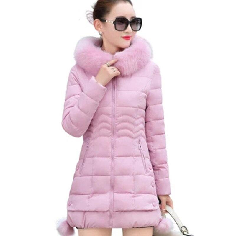 Зимняя Куртка Женщин зимнее пальто pure color повседневная Меховым Воротником С Капюшоном длинные капюшоном хлопка леди куртка