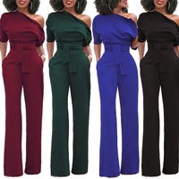 2017 Women S Sexy One Off Shoulder Jumpsuits Solid Color Wide Leg Long Pants With Belt