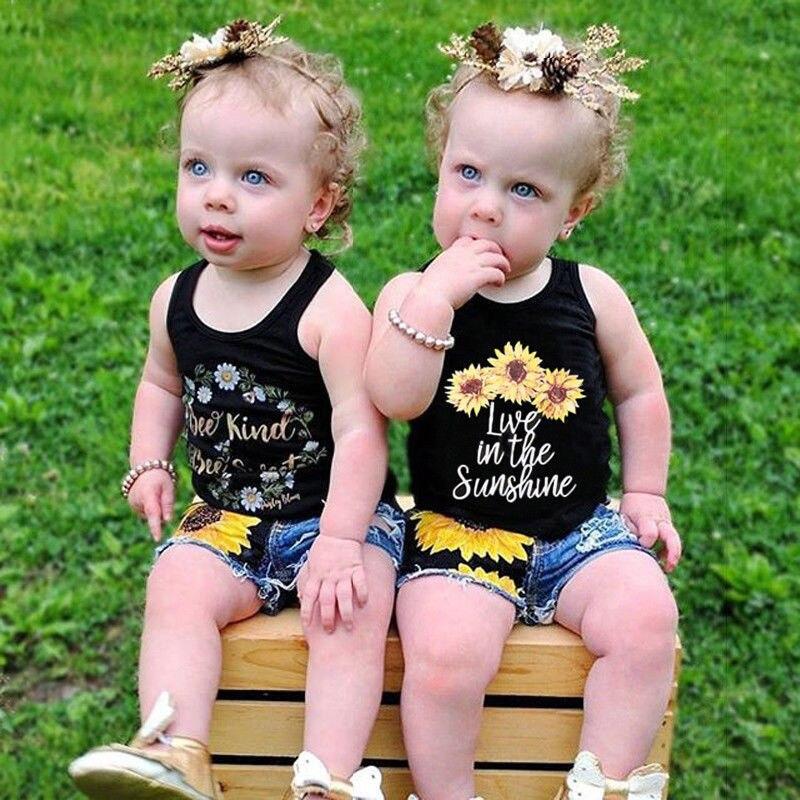 Toddler Kids Baby Girls Denim T Shirt Sun Tops+Pants Summer Outfits Set Clothes