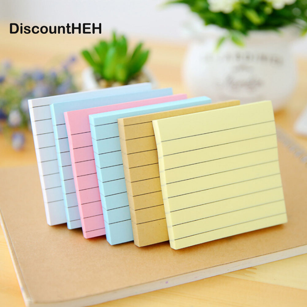 5 Colors Simple Kraft Paper Horizontal Line Stickers Sticky Notes Decorative Memo Pad Paper Sticker DIY Stickers Fridge N Times