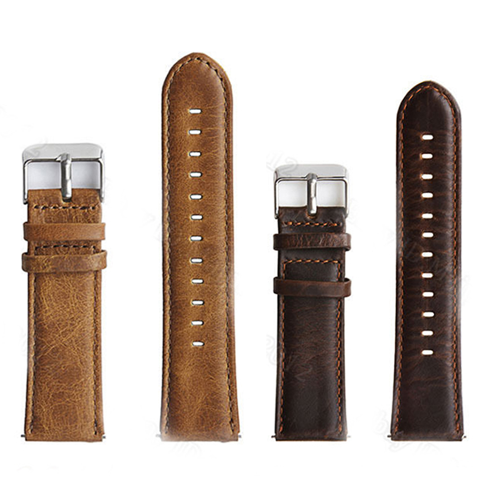 цена Retro Quick Release Genuine Leather Watch Band Stainless Steel Buckle Wrist Strap for Samsung S3