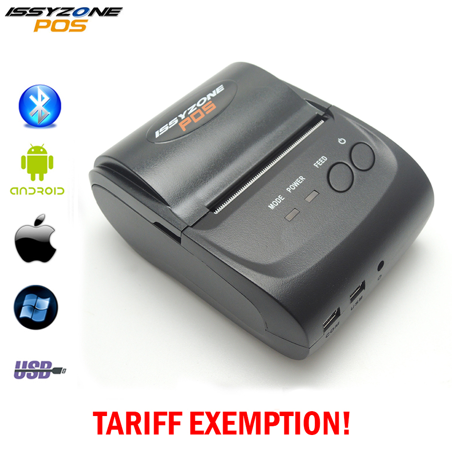 IssyzonePOS Thermal Receipt Printer 58mm Handheld POS Android IOS Bluetooth 4.0 Mini Printers Mobile Portable Printer Free SDK radall 58mm bluetooth thermal receipt printer portable mini bluetooth printer for android and ios mobile pos printer rd 1805dd