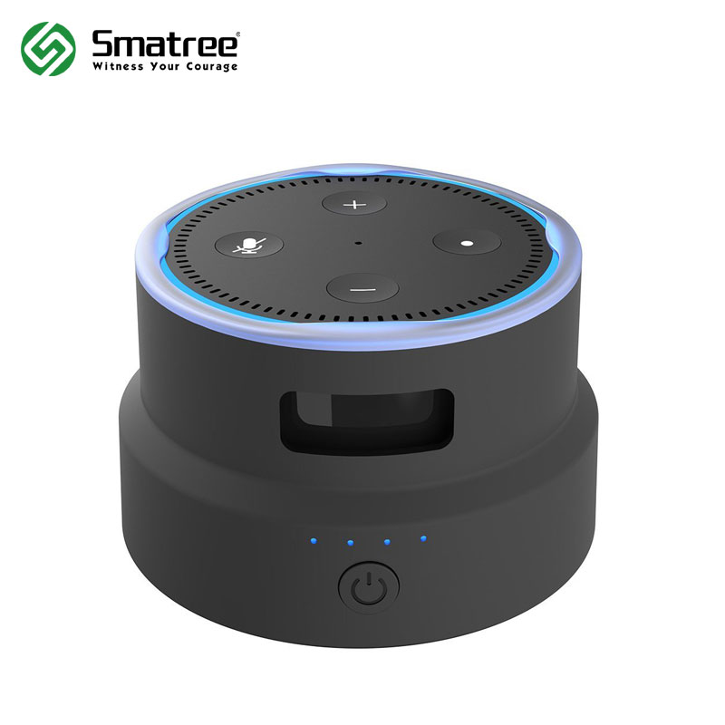 Smatree Portable Battery Base/Protective Cover for 2nd Generation Amazon Echo Dot (black)