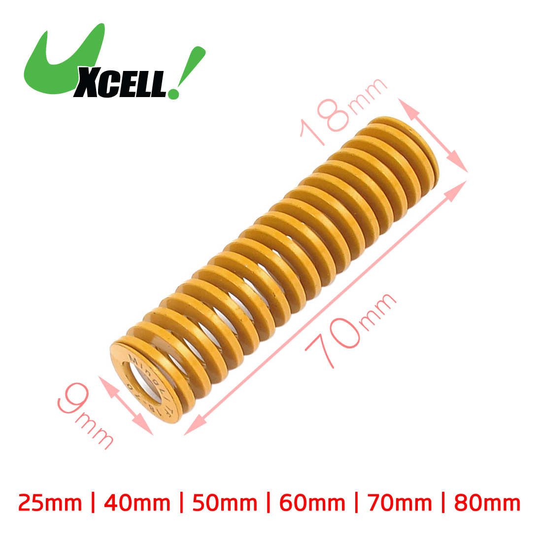Uxcell Od 18Mm Id 9Mm Chromium Alloy Steel Mould Die Spring Yellow Long . | 25mm | 40mm | 50mm | 60mm | 70mm | 80mm | 90mm 9mm tip straight injection mould ejector pin thimble punching 300mm long 5pcs