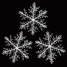 3 Christmas Ornament White Plastic Snowflake Tree /Window Decorations For Home