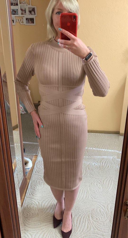 Winter Bodycon Bandage Dress Women Sexy Nude Long Sleeve Midi Club Dress Vestidos Celebrity Evening Party Dresses photo review