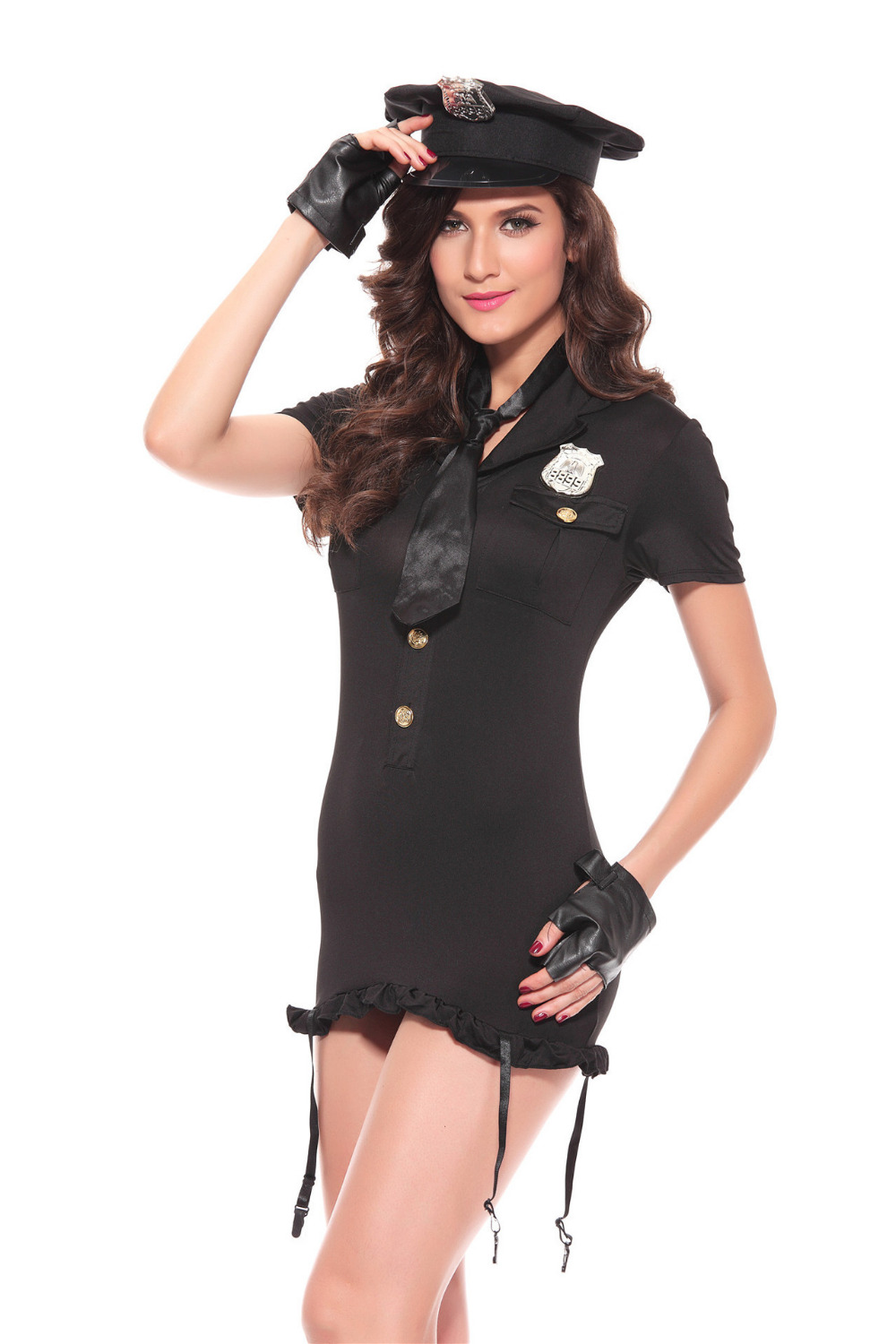 Sexy Women  Policewoman Costume Halloween Cosplay Cop Uniform Mini Dress