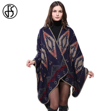 FS Cashmere Scarf Women Thick Poncho Cape Cardigan Patterns Print Fashion Winter Warm Luxury Brand Wool Scarves Shawls Pashmina