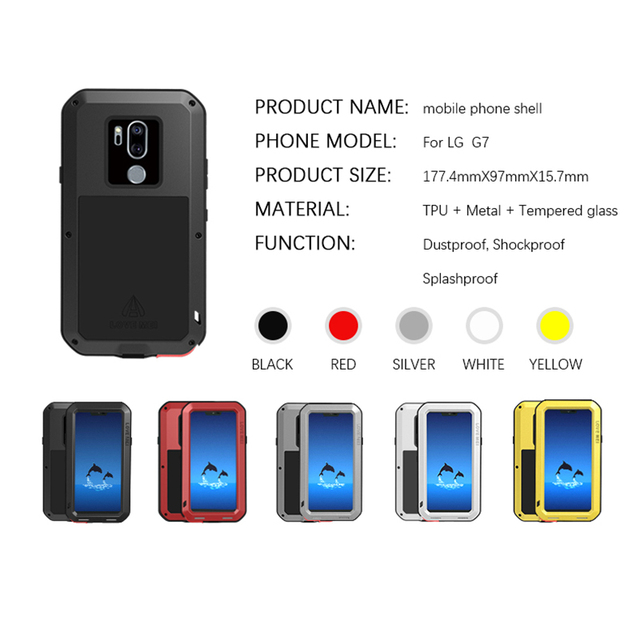 brand new f0aaa 1659e US $28.0 25% OFF|LOVE MEI Case For LG G7 ThinQ Metal Armor Cover Aluminum  Shockproof Life Waterproof Case For LG G7 G710 G 7 Cover Outdoor Fundas-in  ...