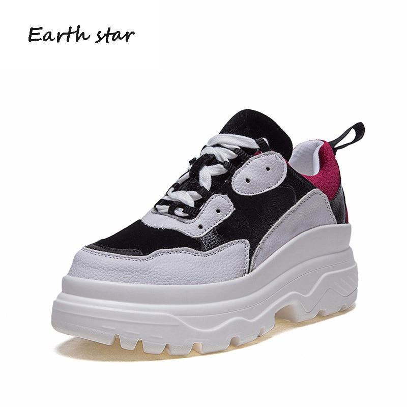 ÉTOILE de LA TERRE 2018 Automne Fille Blanc Chaussures Femmes Marque De Mode Plate-Forme Baskets Dame Hiver chaussures Femme Respirant chaussure