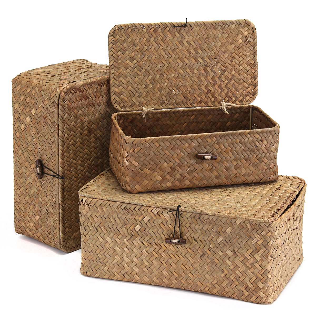 Wicker Basket Vintage Cosmetic Makeup Jewelry Storage Box Storage Bag Zakka  Container Clothes Children Toys Travel