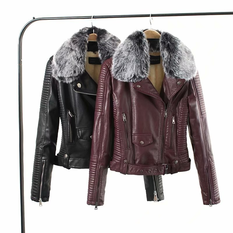 Winter Autumn Fur Collar Women's   Leather   Jacket Slim Motorcycle Outerwear Coats Female Short   Leather   Coat Fashion   Suede   PY20