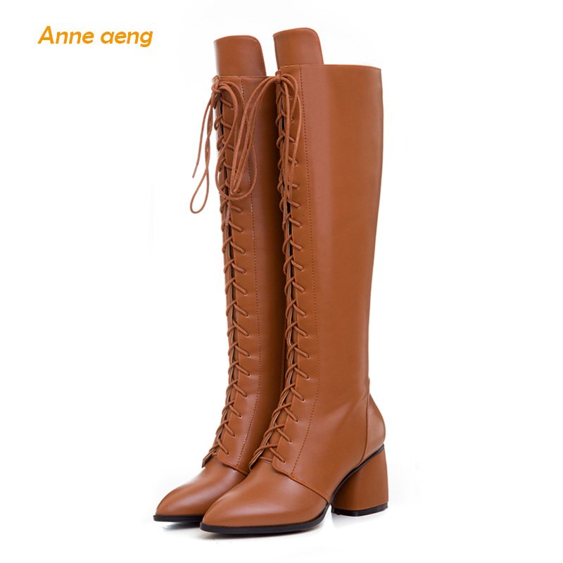Anne Aeng Knee-High women's shoes winter boots New Free Shipping Genuine Leather Cross-Tied High Heel Zip Pointed Toe Classic the new puma womens shoes classic high classic star high tongue series white leather laser badminton shoes