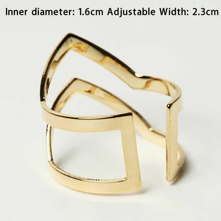 Mode Gold Silber Überzogene Doppel V-förmigen Halb Geöffnet Einstellbare Vintage Frau Ringe Charming Schmuck ring