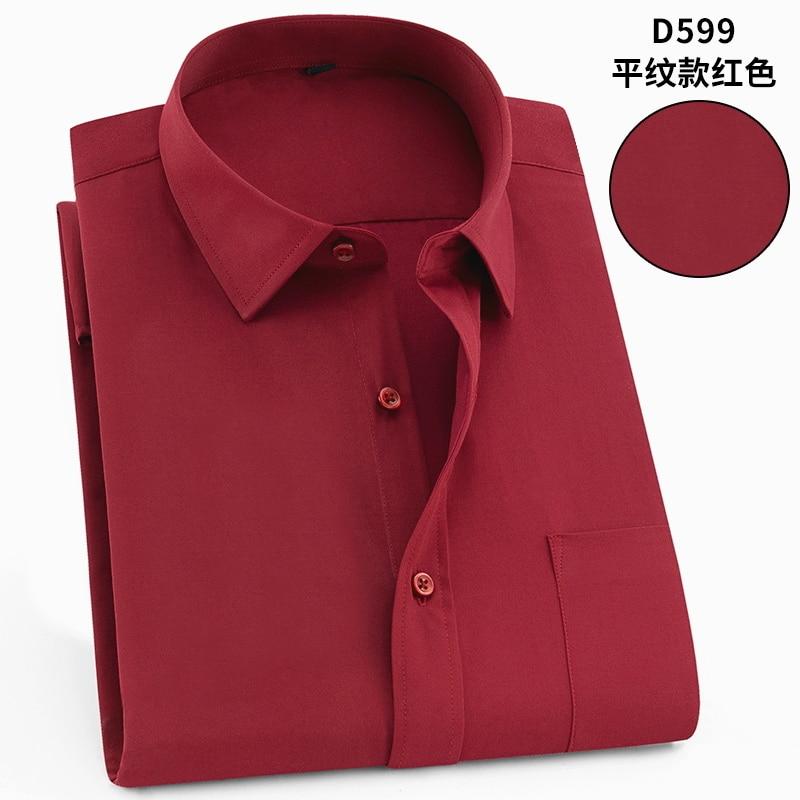 Intelligent Plus-size 5xl 6xl 7xl 8xl Pure Color Fomal Short Sleeve Dress Men Shirt Easy-care Soft Comfortable Red Azure Navy 120kg 130kg Professional Design