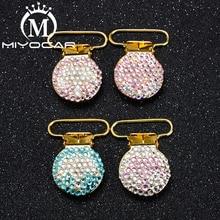 MIYOCAR 10pcs per lot unique design bling crown round shape gold pacifier clip dummy holder good qualitySP021