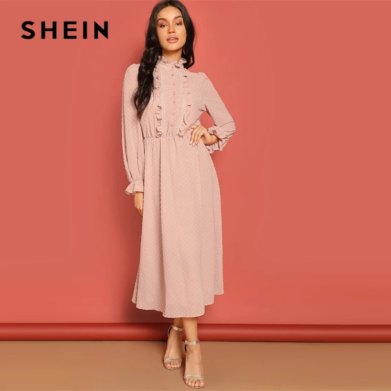 Frill And Lace Trim Half Placket Dot Jacquard Long Dress Stand Collar Midi Dress Women Long Sleeve A Line Elegant Dress photo review