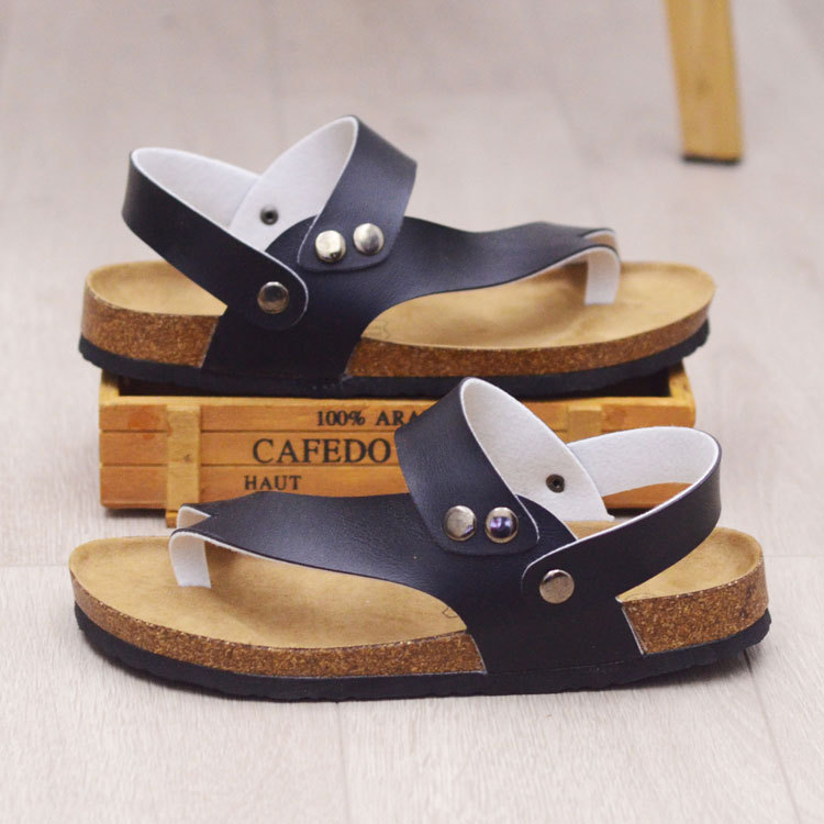 KINE PANDA Men Sandals Fashion Slippers Summer Beach Shoes Open Toe Slides Cork Slippers Plus Size 35-45 summer aqua shoes outdoor slide sandals mens slippers beach sand slippers men camouflage lovers slides couples plus size shoe 45