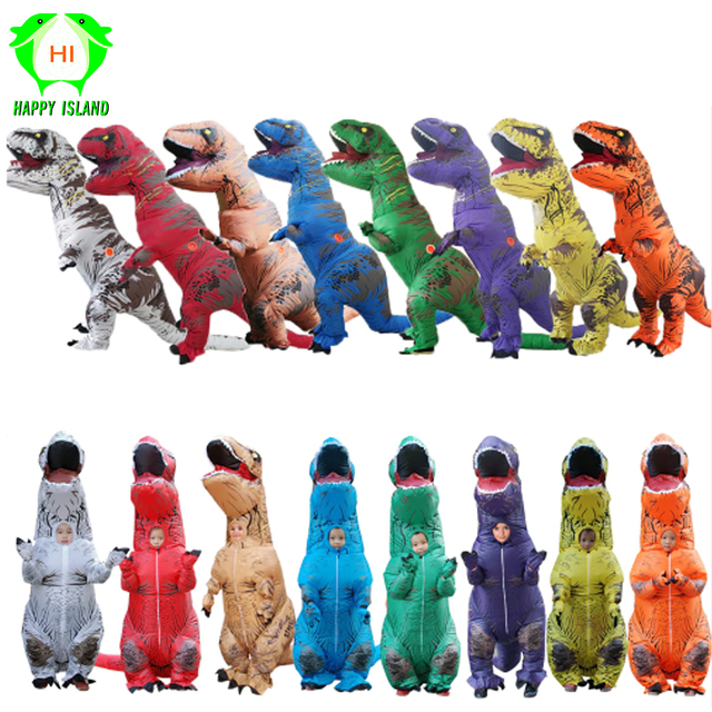 Inflatable T REX Dinosaur Costumes Jurassic World Park Dinosaur Halloween Cosplay Costume Carnival Party Costume for Adult kids