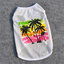 Palm Tree Dog Clothes Sommar 2018 Nya Hundkläder French Bulldog Clothing Hawaiian Shirt Hund Billiga Andas Bomull Shih Tzu E