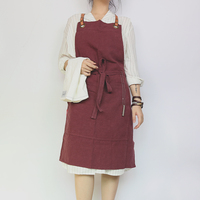 WEEYI Fashion Icon Hygge Red Linen Apron For Woman Man With Leather Strap For Bartender Bakers Painters Chirstmas Gift delantal