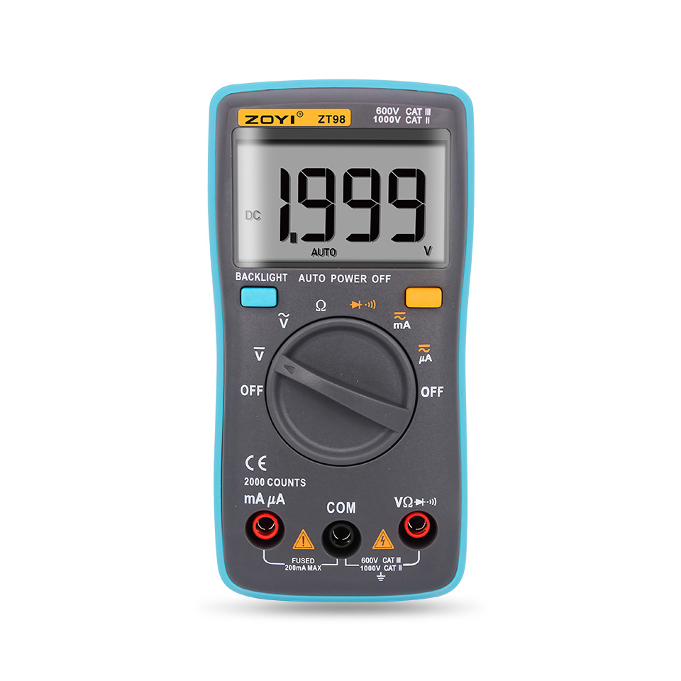 ZT98 Digital Automatic Range Multimeter 2000 counts Backlight AC/<font><b>DC</b></font> Ammeter voltage meter Voltmeter Ohm Portable Meter image
