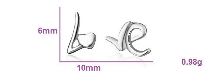 Uloveido Earrings with Silver Color Earring Shape White Love Outstanding Stud Earring Jewelery Lovers Fashionable Jewelry R299