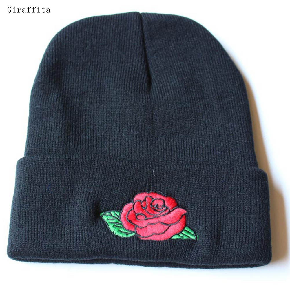 Giraffita Stylish Embroidery Beanie Women's Hats Winter Skullies Knitted Hat For Women Casual Cap With Floral Bonnet Bone