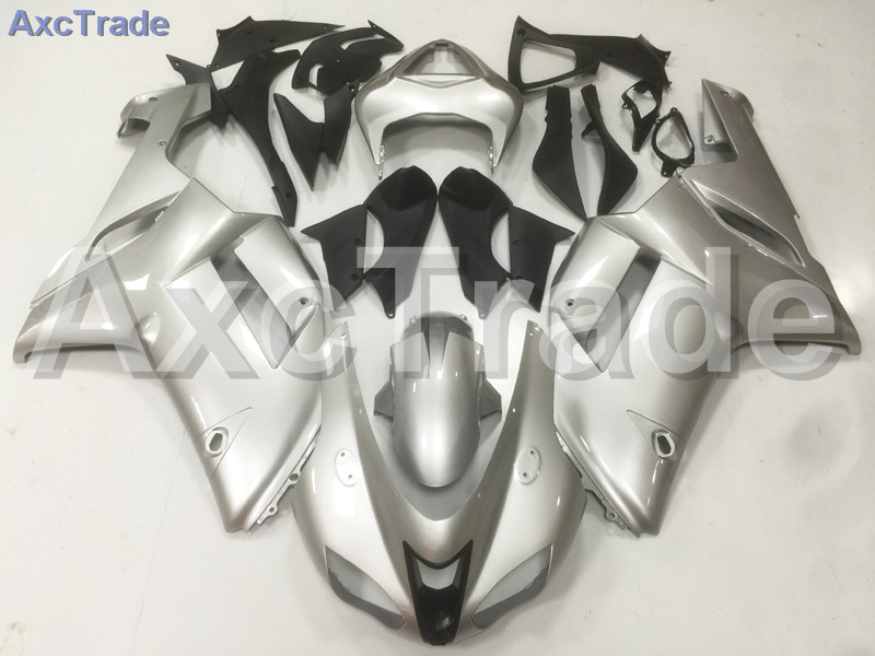 Motorcycle Fairings Kits For Kawasaki Ninja ZX6R ZX-6R 2007 2008 07 08 ABS Plastic Injection Fairing Kit Bodywork Kit Silver A04 abs full fairing kit for kawasaki zx10r 2006 2007 red flames in black plastic fairings set ninja zx 10r 06 07 body kits zs26