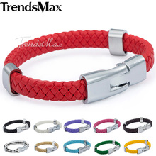 Trendsmax 9/10mm Wide Mens Womens Braided Surf Leather Bracelet Stainless Steel Buckle Fashion Jewelry Jewellery Gift LBM24