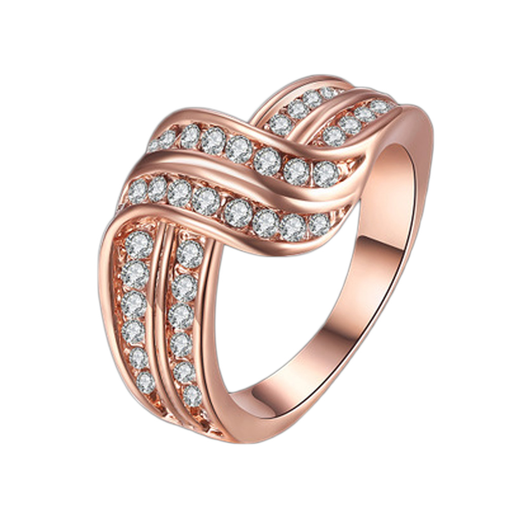 Rhinestons Inlaid Geometric Twist Ring for Women Fashion Jewelry Gift