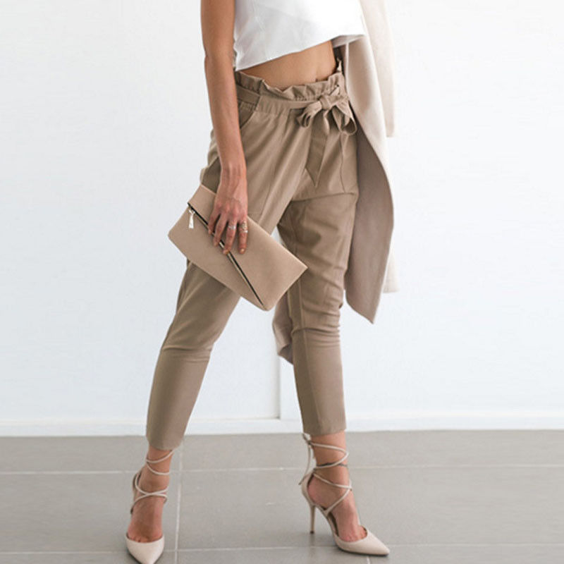 2017 Womens Pencil Pants Ankle Length Stretchy Bandage Bow High Waist Jogger Leggings Loose Casual Pencil Pants Trousers Fashion