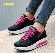 Akexiya Fashion Women Height Increasing Summer Breathable Waterproof Wedges Sneakers Platform Shoes Woman Pu Leather Casual Shoe