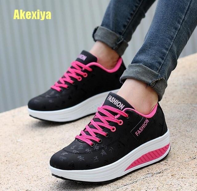 Akexiya Thời Trang Phụ Nữ Chiều Cao Tăng Mùa Hè Không Thấm Nước Thoáng Khí Nêm Sneakers Nền Tảng Giày Phụ Nữ Pu Da Giày Thường