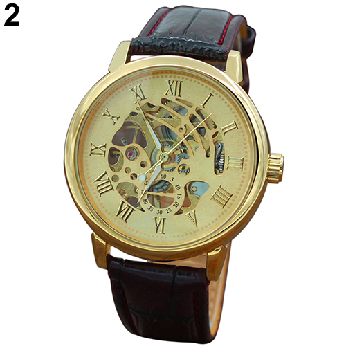 Fashion Mens Watches Top Brand Luxury Leather Strap Waterproof Gold Hollow Automatic Mechanical Vintage Skeleton Role Watch