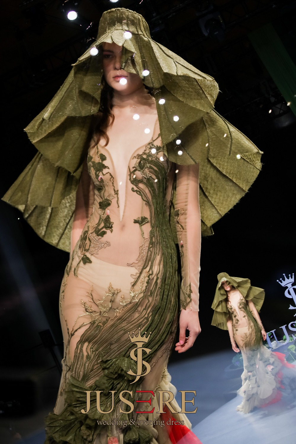 Image 5 - JUSERE 2019 SS FASHION SHOW Green Mermaid Prom Dress Lace Appliques Embroidery Flower Long Prom Dresses Dress robe de soireeProm Dresses   -