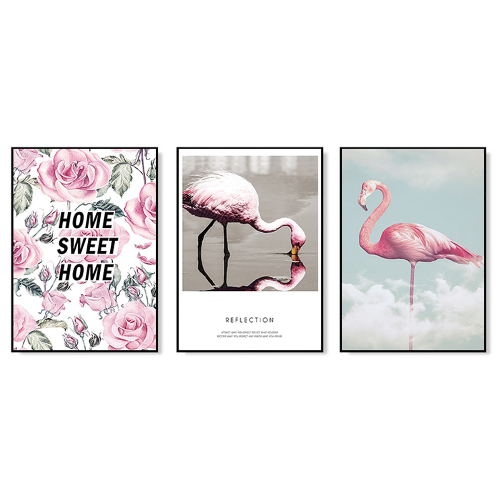SD LINLEEHON Flamingo Pink Flower Canvas Painting Wall Art Poster Girl Living Room Sticker Home Decoration Picture Unframed