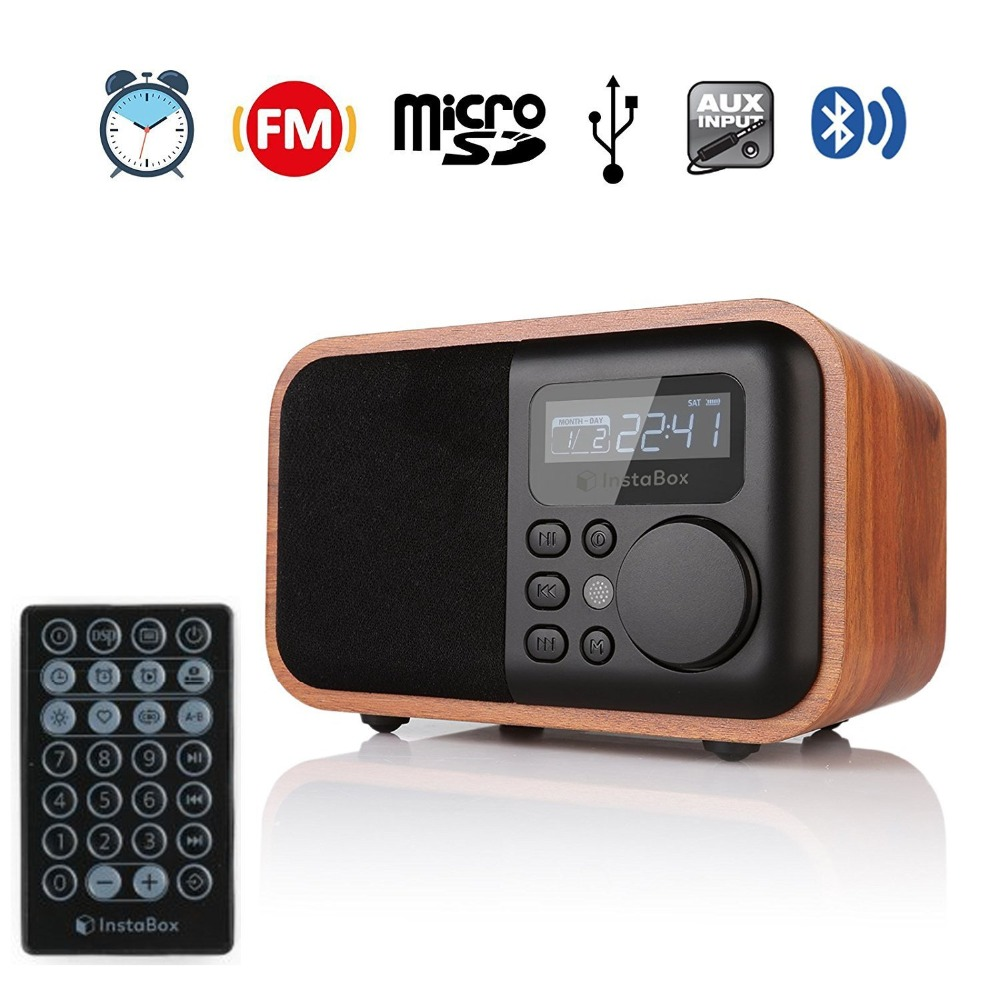 InstaBox i90 FM Radio En Bois Numérique Multi-Fonctionnelle Haut-Parleur alarme bluetooth Horloge MP3 Player Prend En Charge Micro SD/TF Carte USB AUX